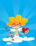 Τόξο και καρδιά εκμετάλλευσης Geek cupid Στοκ φωτογραφίες με δικαίωμα ελεύθερης χρήσης