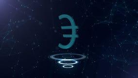 Ένα θαυμάσιο τρισδιάστατο ευρο- σημάδι Διαστημικό μπλε σκηνικό κυβερνοχώρου με τις συνδέσεις στο Διαδίκτυο Το ευρο- νόμισμα είναι διανυσματική απεικόνιση