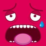 Ένα διανυσματικό χαριτωμένο κουρασμένο ροζ πρόσωπο κινούμενων σχεδίων Στοκ φωτογραφία με δικαίωμα ελεύθερης χρήσης