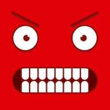 Ένα διανυσματικό χαριτωμένο κόκκινο εξαγριωμένο πρόσωπο κινούμενων σχεδίων Στοκ εικόνες με δικαίωμα ελεύθερης χρήσης