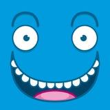 Ένα διανυσματικό χαριτωμένο μπλε ευτυχές πρόσωπο κινούμενων σχεδίων Στοκ Εικόνα