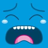 Ένα διανυσματικό χαριτωμένο μπλε φωνάζοντας πρόσωπο κινούμενων σχεδίων Στοκ φωτογραφία με δικαίωμα ελεύθερης χρήσης