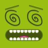 Ένα διανυσματικό χαριτωμένο πράσινο ζαλισμένο πρόσωπο κινούμενων σχεδίων Στοκ Φωτογραφίες