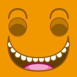 Ένα διανυσματικό χαριτωμένο πρόσωπο γέλιου κινούμενων σχεδίων πορτοκαλί Στοκ Εικόνα