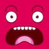 Ένα διανυσματικό χαριτωμένο πρόσωπο κραυγής κινούμενων σχεδίων ρόδινο Στοκ Φωτογραφία