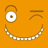 Ένα διανυσματικό χαριτωμένο πρόσωπο κλεισίματος του ματιού κινούμενων σχεδίων πορτοκαλί Στοκ εικόνα με δικαίωμα ελεύθερης χρήσης