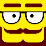 Ένα διανυσματικό χαριτωμένο πρόσωπο Hipster κινούμενων σχεδίων κίτρινο Στοκ Φωτογραφία