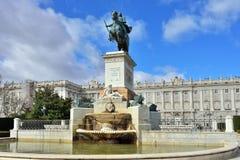 Ένα ιππικό άγαλμα Philip IV, Μαδρίτη Στοκ Εικόνα