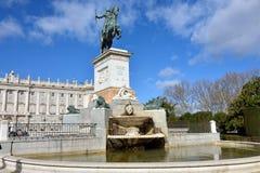 Ένα ιππικό άγαλμα Philip IV, Μαδρίτη Στοκ Εικόνες