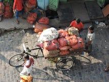 Ένα κάρρο που φορτώνεται με τα λαχανικά Στοκ Εικόνα