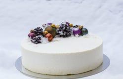 Ένα κέικ για διακοπές Χριστουγέννων ή ένα νέο έτος Στοκ φωτογραφίες με δικαίωμα ελεύθερης χρήσης