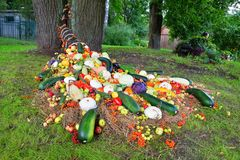 Ένα κέρας της Αμαλθιας κάτω από ένα δέντρο των ώριμων φρούτων και των μούρων στο χορτοτάπητα Στοκ φωτογραφίες με δικαίωμα ελεύθερης χρήσης