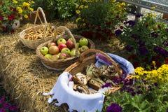 Ένα καλάθι μήλων δίπλα σε ένα pretzel καλάθι και το καλάθι παγκρεάτων Στοκ Φωτογραφία