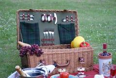 Ένα καλάθι πικ-νίκ στο πράσινο λιβάδι με τις λιχουδιές και τη οργανική τροφή στοκ φωτογραφία με δικαίωμα ελεύθερης χρήσης