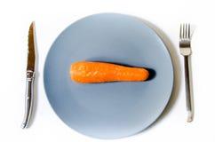 Ένα καρότο στη μέση ενός πιάτου Στοκ Φωτογραφία
