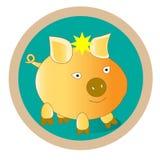 Ένα κατοικίδιο ζώο είναι ένα χοιρίδιο σε ένα πράσινο υπόβαθρο Μπορεί να χρησιμοποιηθεί για τις εικόνες για τα παιδιά Στοκ Φωτογραφίες