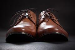 Ένα καφετί κλασικό αρσενικό παπούτσι στις σταθερές μαύρες βάσεις Στοκ φωτογραφίες με δικαίωμα ελεύθερης χρήσης