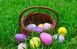 Ένα καλάθι των αυγών Πάσχας Στοκ εικόνες με δικαίωμα ελεύθερης χρήσης