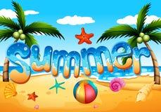 Ένα καλοκαίρι στην παραλία διανυσματική απεικόνιση