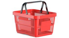Ένα κενό κόκκινο πλαστικό καλάθι αγορών, τρισδιάστατη απεικόνιση Στοκ Εικόνες