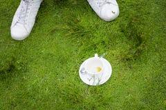 ένα κενό φλιτζάνι του καφέ στη χλόη Στοκ Εικόνες
