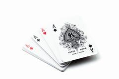 Ένα κερδίζοντας χέρι πόκερ τεσσάρων άσσων Στοκ εικόνες με δικαίωμα ελεύθερης χρήσης