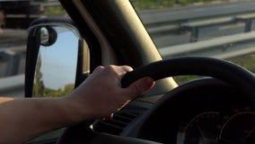 Ένα κινούμενο αυτοκίνητο από μέσα με ένα τιμόνι, ένας μεγάλος καθρέφτης φτερών απόθεμα βίντεο