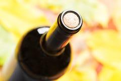 Ένα κλειστό μπουκάλι του κόκκινου κρασιού Τοπ όψη Στοκ Φωτογραφία