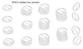 Ένα κλιμακοστάσιο ή μια εξέδρα των νομισμάτων γραμμών isometric ελεύθερη απεικόνιση δικαιώματος