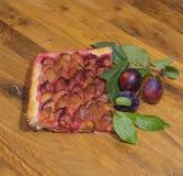 Ένα κομμάτι της παραδοσιακής γερμανικής πίτας έκανε από τα φρέσκα δαμάσκηνα στοκ εικόνες