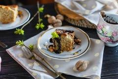 Ένα κομμάτι του κέικ μπισκότων μπανανών, που χύνεται με τη σοκολάτα, σε ένα πιάτο Στοκ φωτογραφία με δικαίωμα ελεύθερης χρήσης