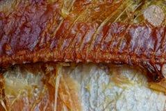 Ένα κομμάτι των καφετιών καπνισμένων ψαριών με τα κόκκαλα στοκ εικόνα