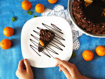 Ένα κομμάτι cheesecake σοκολάτας σε ένα πιάτο Στοκ Φωτογραφία