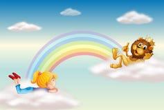 Ένα κορίτσι και ένα λιοντάρι βασιλιάδων πέρα από το ουράνιο τόξο απεικόνιση αποθεμάτων