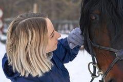 Ένα κορίτσι με τη μακριά ξανθή τρίχα επικοινωνεί με το αγαπημένο άλογό της Το κορίτσι τελείωσε ένα άλογο Μια νεφελώδης χειμερινή  Στοκ Φωτογραφίες