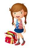 Ένα κορίτσι με τη σχολική τσάντα απεικόνιση αποθεμάτων