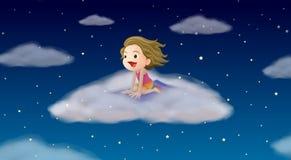 Ένα κορίτσι που πετά στο χαλί ελεύθερη απεικόνιση δικαιώματος