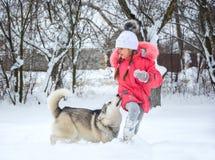 Ένα κορίτσι στα τρεξίματα ρόδινων σακακιών και καπέλων στο χιόνι τροφοδοτεί μια HU Στοκ Φωτογραφία