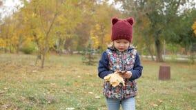 Ένα κορίτσι τρέχει με μια ανθοδέσμη των κίτρινων φύλλων Φθινόπωρο φιλμ μικρού μήκους