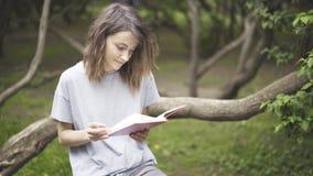 Ένα κορίτσι brunette διαβάζει ένα βιβλίο στο πάρκο Στοκ φωτογραφίες με δικαίωμα ελεύθερης χρήσης