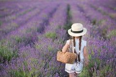 Ένα κορίτσι Brunette σε ένα καπέλο αχύρου που κρατά ένα καλάθι με lavender Ένα κορίτσι Brunette με δύο πλεξούδες σε έναν lavender Στοκ φωτογραφίες με δικαίωμα ελεύθερης χρήσης