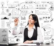 Ένα κολάζ μιας γυναίκας που εργάζεται σε ένα γραφείο και τα σύμβολα Στοκ φωτογραφία με δικαίωμα ελεύθερης χρήσης
