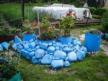 Ένα κρεβάτι λουλουδιών στον κήπο Στοκ φωτογραφία με δικαίωμα ελεύθερης χρήσης