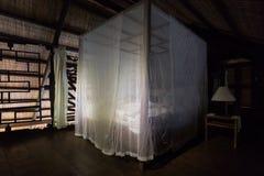 Ένα κρεβάτι σε μια ξύλινη υποβολή σε ένα κουνούπι καθαρό Στοκ Εικόνα