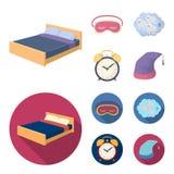 Ένα κρεβάτι, ένα blindfold, μετρώντας κριοί, ένα ξυπνητήρι Καθορισμένα εικονίδια συλλογής υπολοίπου και ύπνου στα κινούμενα σχέδι Στοκ φωτογραφία με δικαίωμα ελεύθερης χρήσης
