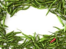 Ένα κόκκινο πιπέρι τσίλι με τα πράσινα πιπέρια τσίλι στοκ φωτογραφίες με δικαίωμα ελεύθερης χρήσης