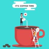 Ένα κόκκινο φλυτζάνι καφέ με τα φασόλια barista και καφέ χρόνος καφέ s croissant γλυκό φλυτζανιών καφέ σπασιμάτων ανασκόπησης Σχέ ελεύθερη απεικόνιση δικαιώματος