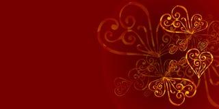Ένα κόκκινο, burgundy floral υπόβαθρο χρώματος με τη χρυσή διακόσμηση Ένα βασιλικό burgundy υπόβαθρο χρώματος με τις χρυσές καρδι απεικόνιση αποθεμάτων