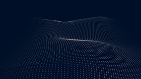 Ένα κύμα των μορίων Φουτουριστικό κύμα σημείου r Αφηρημένο μπλε υπόβαθρο με ένα δυναμικό κύμα E απεικόνιση αποθεμάτων