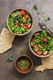 Ένα κύπελλο της vegan και χορτοφάγου σαλάτας και chickpeas φρέσκων λαχανικών σε ένα σκοτεινό υπόβαθρο E στοκ φωτογραφία